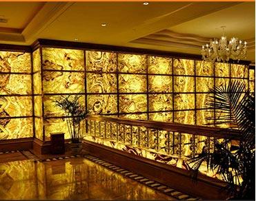 大型酒店豪华高档的透光云石背景墙